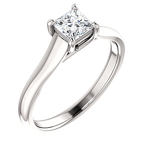 Gorgeous! Women's Princess-cut 14k White-gold 06.00MM (11/4 CT) Moissanite Solitaire Engagement Ring