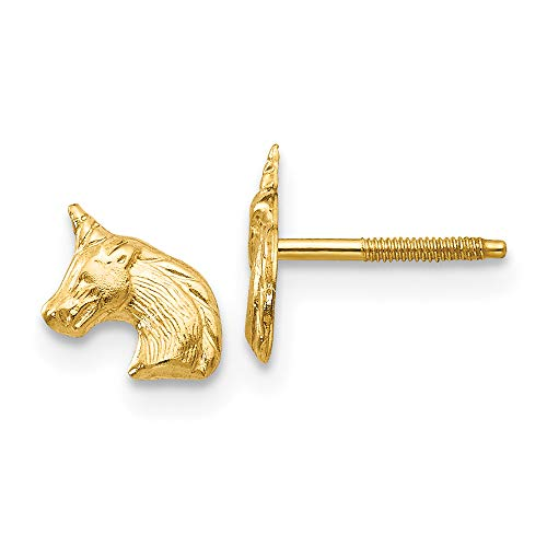Solid 14k Yellow Gold Tiny Unicorn Screwback Stud Earrings with Silicone Safety Back, 8mm