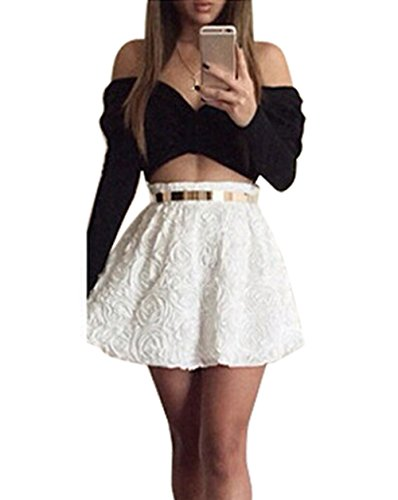 Vakind® Sexy Women Rose Cross Off-Shoulder Long Sleeve Two-Piece Party Dress Set (Asian M)