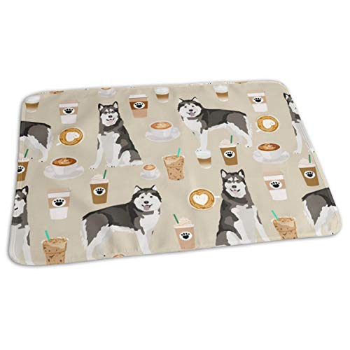 "Alaskan Malamute Coffee Sand Changing Pad - Diaper Change Pad Large Size (25.5""x31.5"") - Portable Waterproof Baby Changing Pad for Girls Boys Newborn"