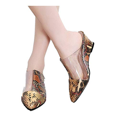 Mules for Women Shallow Pointed Toe Wedge Slippers Snake Casual Closed Toe Shoes Work Sandals