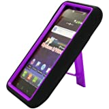 BLACK/PURPLE Armor 3 IN 1 High Impact Combo Hard Soft Gel Case Stand For LG Lucid VS840 (Verizon)