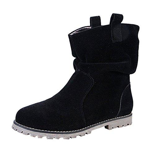 Bottine Courtes Moto Automne Suédine Chaussure Simple Hiver Classique Doublure Femme Black Ville Frestepvie Confort Boots Bottes Plates velours Lacets RPxHqAAv