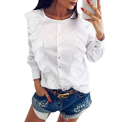 Bluse Rotondo Giovane Collo Ragazza Camicia Lunga con Moda Camicie Manica Camicetta Autunno Baggy Donna Eleganti Basic Primaverile Casual Stripe Bianca Bluse Volant con Tops qtp4B