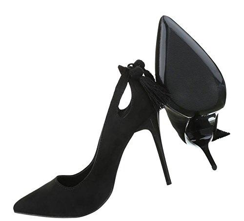 Damen Pumps Schuhe High Heels Stöckelschuhe Stiletto Schwarz Blau 36 37 38 39 40 Schwarz