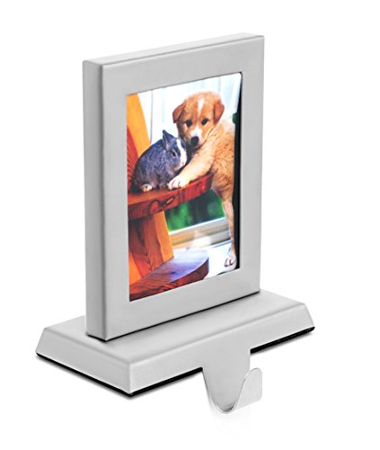 "Frame Stocking Photo Holder - BIRDROCK HOME Photo Frame Stocking Holder | Holiday Greetings Mantle Fireplace Topper | Decorative Christmas Stocking Holder | Stainless Steel | 3"" x 4"" Photo"
