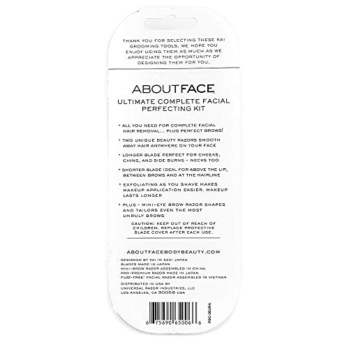 About Face Ultimate Complete Facial Perfecting Kit for Shaving & Exfoliating – Includes 3 Beauty Groomers