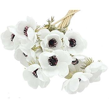 Amazon single artificial white anemone silk white anemone enge 10 heads mini artificial anemone wedding bridal bouquet home flower 10 white mightylinksfo