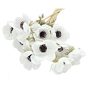 ENGE 10 Heads Mini Artificial Anemone Wedding Bridal Bouquet Home Flower Grass Rose 38