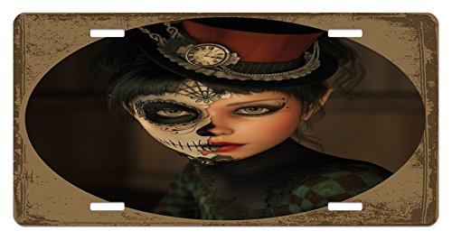 Ambesonne Sugar Skull License Plate, Antique Portrait Girl with Calavera Inspired Makeup and Topper Realistic Design, High Gloss Aluminum Novelty Plate, 5.88 L X 11.88 W Inches, Multicolor]()