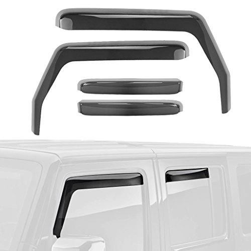 ALAVENTE Side Window In-Channel Deflectors Ventvisor Visor For Jeep Wrangler JK Unlimited 2007-2017 4-Door (Dark Tint)
