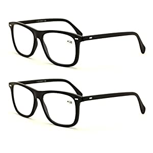 V.W.E. 2 Pairs Smart Looking Reading Glasses - Comfortable Stylish Simple Readers Rx Magnification (2 Pairs Black, 1.50)