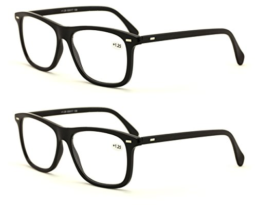 V.W.E. 2 Pairs Smart Looking Reading Glasses - Comfortable Stylish Simple Readers Rx Magnification (2 Pairs Black, 1.25) (Reading Comfortable Glasses)