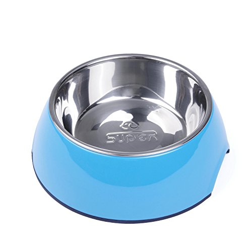 SUPER DESIGN Classic Removable Stainless Steel Bowl in High Gloss Anti-Skid Round Melamine Stand,for Dog or Cat S Blue