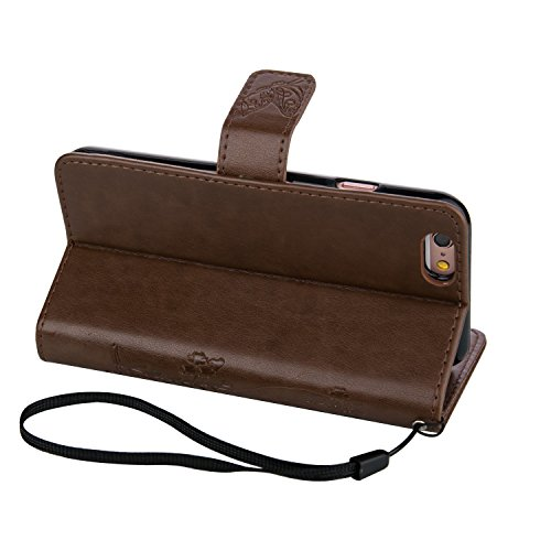 ZeWoo Folio Ledertasche - LD101 / Naturbraun - für Apple iPhone 5 5G 5S / iPhone SE (4 Zoll) PU Leder Tasche Brieftasche Case Cover