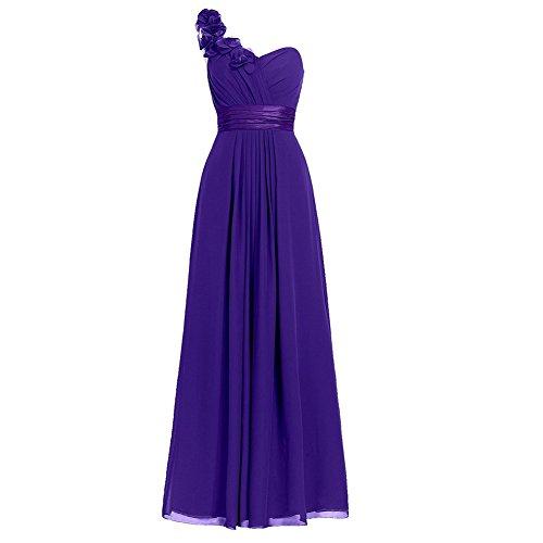 H.S.D Women's Simple Floral One Shoulder Long Bridesmaid Dresses Prom Gowns Purple ()