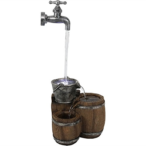 Sunnydaze Floating Faucet and Barrel Tabletop Water Fountain with LED Light, Indoor Small Relaxation Waterfall Feature, 19-Inch ()