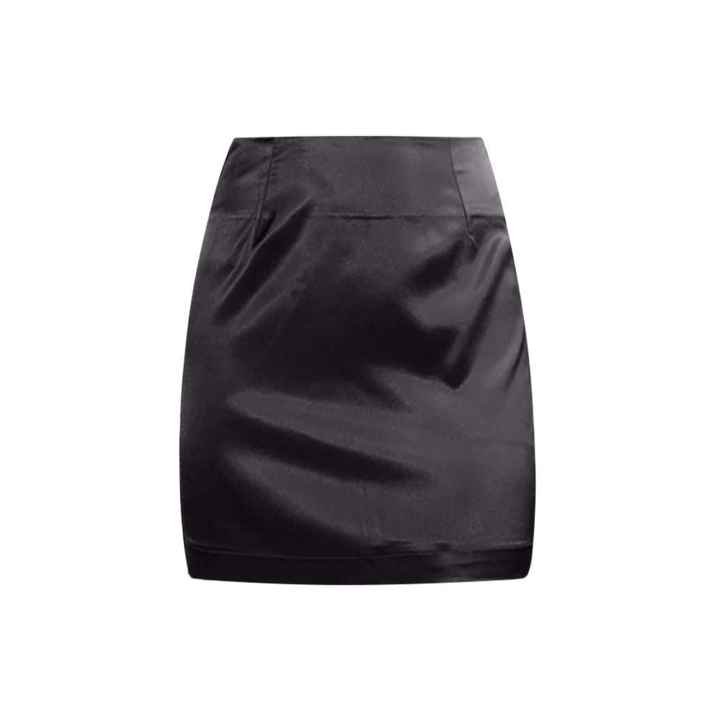 Women Skirts, POTO Womens Ladies Sexy Satin Smooth Zipper Skirt Fashion Solid Bodycon Wrap Mini Skirt S-3XL Black