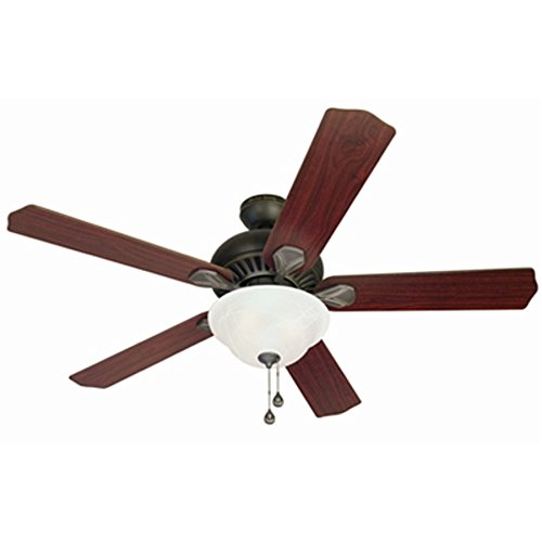Harbor Breeze 52-in Oil-Rubbed Bronze Downrod or Flush Mount Indoor Ceiling Fan with Light Kit and Remote - Wet Flush Mount Fan