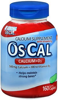 Os-Cal Calcium 500 mg + D3 200 IU Supplement Coated Caplets - 160ct, Pack of 4