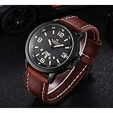 ساعة للرجال من نافي فورس، سوار جلد بني، كوارتز، NF9028M