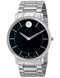 Movado Men's 0606687 Movado TC Stainless Steel Case and Bracelet Black Dial Minute Tracker Watch