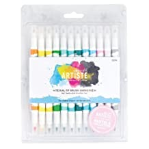 Docraft Artiste Dual Tip Permanent Brush Marker Pens Art/Craft x 12 Pastel by Papermania