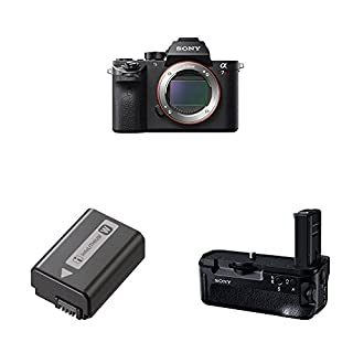 Sony a7R II Full-Frame Mirrorless Interchangeable Lens Camera, Body Only (Black) (ILCE7RM2/B) with Lithium-Ion 1020mAh Rechargeable Battery and Vertical Grip (Black)