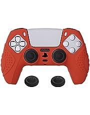eXtremeRate PlayVital Guardian Edition passion röd ergonomisk mjuk halkfri kontroll silikonfodral skydd för PlayStation 5, gummiskydd skinn med vita joystick kepsar för PS5-kontroll