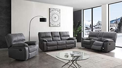 Betsy Furniture Microfiber Reclining Sofa Couch Set Living Room Set 8007 (Grey, Sofa+Loveseat+Recliner)