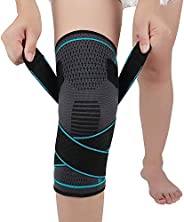 Knee Brace Compression Knee Sleeve with Strap for Running, Hiking, Soccer,Basketball,Meniscus Tear,Arthritis,B