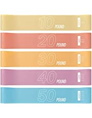 Resistance Loop Bands - Exercise Workout Booty Bands Set of 5 for Home Fitness, Yoga, Pilates