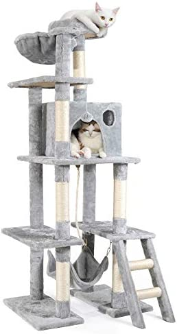 rabbitgoo Cat Tree Cat Tower 61″ for Indoor Cats, Multi-Level Cat Condo with Hammock & Scratching Posts for Kittens, Tall Cat Climbing Stand with Plush Perch & Toys for Play Rest