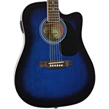 Jameson Guitars Full Size Thinline Acoustic Electric Guitar with Free Gig Bag Case & Picks Blue Right Handed