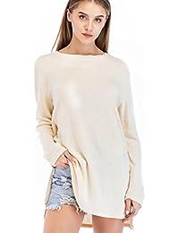 Women Long Sleeve Side Zipper Loose Casual Tunic Knit Pullover Sweater Dress Tops