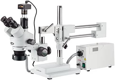 AmScope SM-4TZ-FOR-M Digital Professional Trinocular Stereo Zoom Microscope, WH10x Eyepieces, 3.5X-90X Magnification, 0.7X-4.5X Zoom Objective, Fiber-Optic Ring Light, Double-Arm Boom Stand, 110V-120V, Includes 0.5X and 2.0X Barlow Lenses and 1.3MP Camera with Reduction Lens and Software