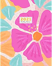 """2021 Monthly Planner: 2021 see it bigger Square planner   12-Month Planner & Calendar with holiday Size: 8.5"""" x 11"""" ( Jan 2021 - Dec 2021). For Your Personalized Appointment and work Project Notebook Flower Watercolor design"""