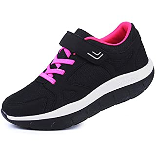 DADAWEN Women's Platform Wedges Tennis Walking Sneakers Comfortable Lightweight Casual Fitness Shoes Black US Size 5
