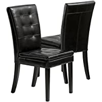 Best Selling Clayton Leather Dining Chair, Black, Set of 2
