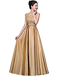 Women Long Satin Bridal Dress Lace Prom Party Formal Gowns
