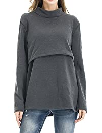 Smallshow Women's Fleece Nursing Tops Shirts Long Sleeve Breastfeeding Clothes