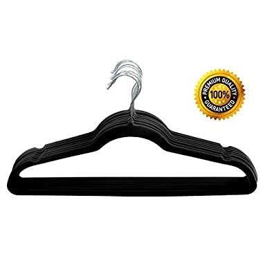 Home-it 50 Pack Clothes Hangers Black Velvet Hangers Clothes Hanger Ultra Thin No Slip