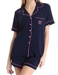 Womens KnitSleepwear Short Sleeves Pajama Set With Shorts by NORA TWIPS(XS-XL)