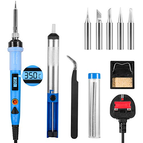 Soldering Iron Kit WaxRhyed, 80W Digital LCD Solder Gun with Adjustable Temp 200-450°C and ON/Off Switch, 5 Soldering Tips, Desoldering Pump, Thermostatic Design Welding Tools for Electronics