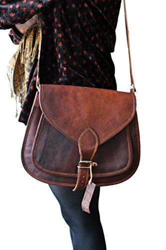 Phoenix Craft Women's Leather Purse Gypsy Bag Crossbody Women Handbag Shoulder Travel Satchel Tote Bag 14x10x4 Inches Brown …