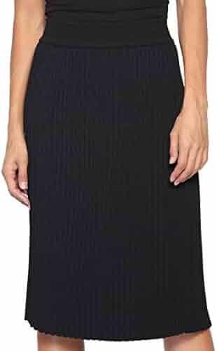 3cb6a72296 TheMogan Women's Elastic High Waisted Knee Length A-line Pleated Knit Midi  Skirt