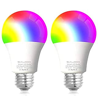 Smart Alexa Light Bulbs, SAUDIO WiFi LED Bulbs RGB Color Changing Bulbs, Compatible with Siri,Alexa and Google Home Assistant, No Hub Required, A19 E26 Multicolor 2 Pack