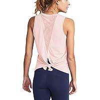 Mippo Women's Cute Yoga Workout Mesh Shirts Activewear Sexy Open Back Sports Tank Tops