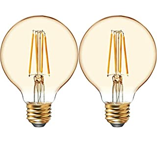 GE Lighting 42173 Amber Glass Light Bulb Dimmable LED Vintage Style G25 Decorative Globe 4.5 (40-Watt Replacement), 280-Lumen Medium Base, 2-Pack, 2 Count
