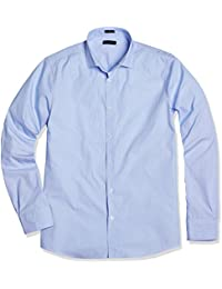 Men's Classic Fit Spread Collar Stripe Business Casual Shirt
